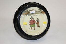 """Continental decorative plate, inscribed """"Every Dog Has His Day, and Every Man His Hour"""","""