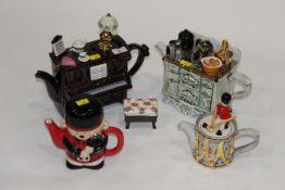 Four novelty teapots by Swineside Tea Pottery and Leyburn Tea Pottery
