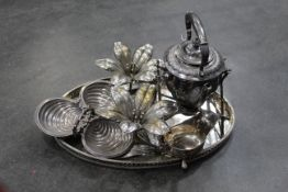 Plated ware - spirit kettle, 2 floral candle holders, nut dish,