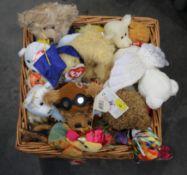 Basket of Ty Beanie soft toys