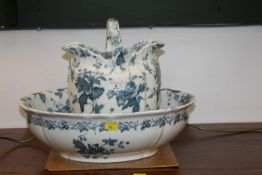 Floral blue and white transfer printed jug & bowl