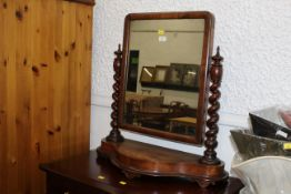 Victorian mahogany toilet mirror, square, with barley twist supports,