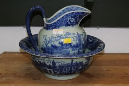 Blue and white Victorian ware ironstone jug & bowl