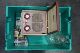 Vintage Vidor My Lady Catherine radio, glass decanter,