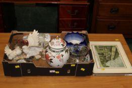 Box of James Kent Old Foley pattern lidded vase, Juliana quartz mantle clock,