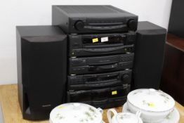 Kenwood sound system with 2 Technics speakers