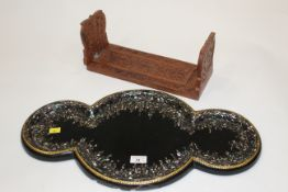 Indian carved extending bookends and mother of pearl inlaid tray,
