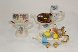 Three novelty teapots by Tony Carter and Swineside Tea Pottery