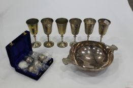 Six EPNS baby goblets, six larger plated goblets and commemorative Mappin & Webb plated quaich,