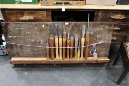 Display of 11 woodturning chisels,