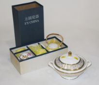 Boxed Chinese floral tea set and Minton Aragon pattern lidded tureen