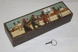An early 20th century Russian beechwood glove box,