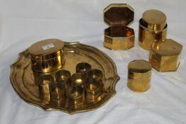 Five brass tea caddies of 19th century design,