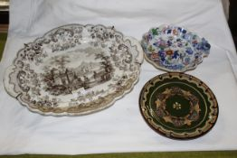 A 19th century brown transfer ware printed oval meat plates, decorated with design titled Pomerania.