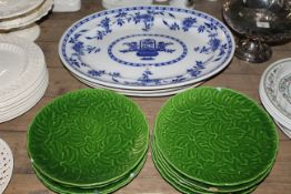 A Minton blue and white pottery oval meat plates.