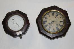 A 19th century mahogany octagonal cased holosteric barometer by Mason & Son, Dublin.