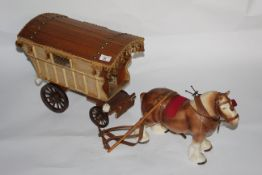 """A pottery and plywood """"Gypsy caravan group"""" 69 cm long."""