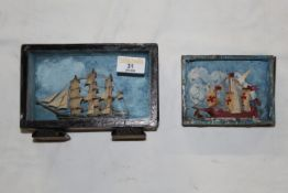 Two miniature model ships contained in painted display cases,