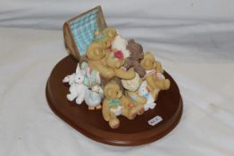 """An Enesco """"Cherish Teddies"""" resin group - """"Reunited for a day"""", """"Together for a life time"""", No."""