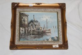 A 20th century oil painting - Fishing boats in Mediterranean harbour, canvas 21 cm x 25 cm,