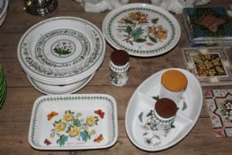 Twelve pieces of Portmeirion Botanic Garden pottery including circular footed cake stands.