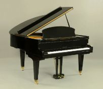 A Challen of London overstrung boudoir grand piano, with iron frame,