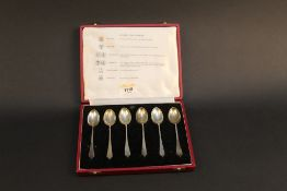 A cased set of six silver commemorative