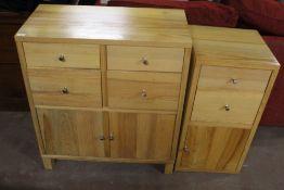 Three modern light oak chests of drawers