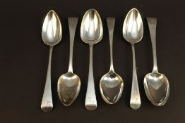 Six George III silver tablespoons, Old E