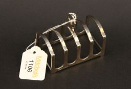 A 1930's four division silver toast rack