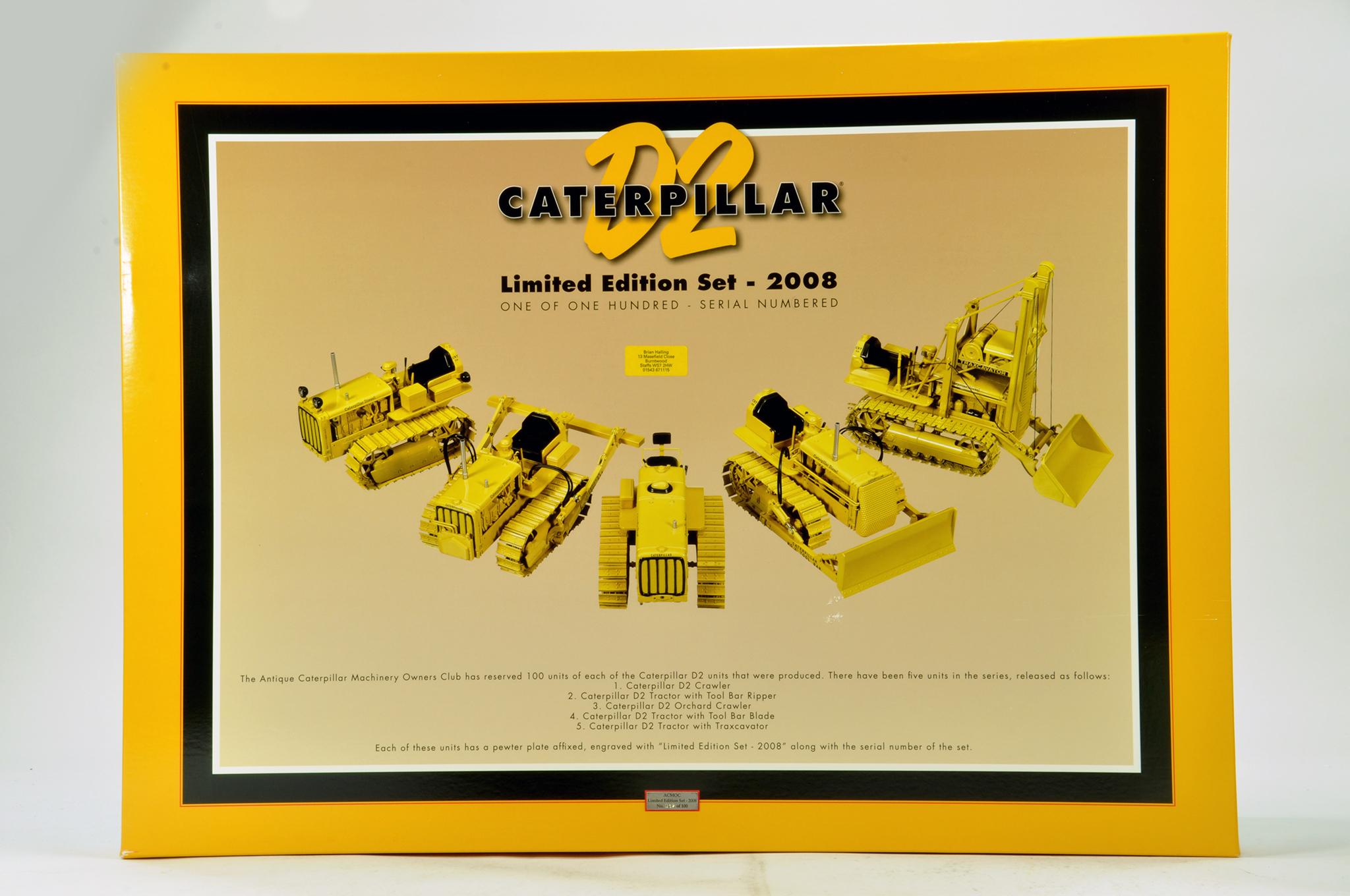 Lot 547 - Spec Cast 1/16 ACMOC 2008 Limited Edition Presentation Set for CAT Caterpillar D2 comprising 5