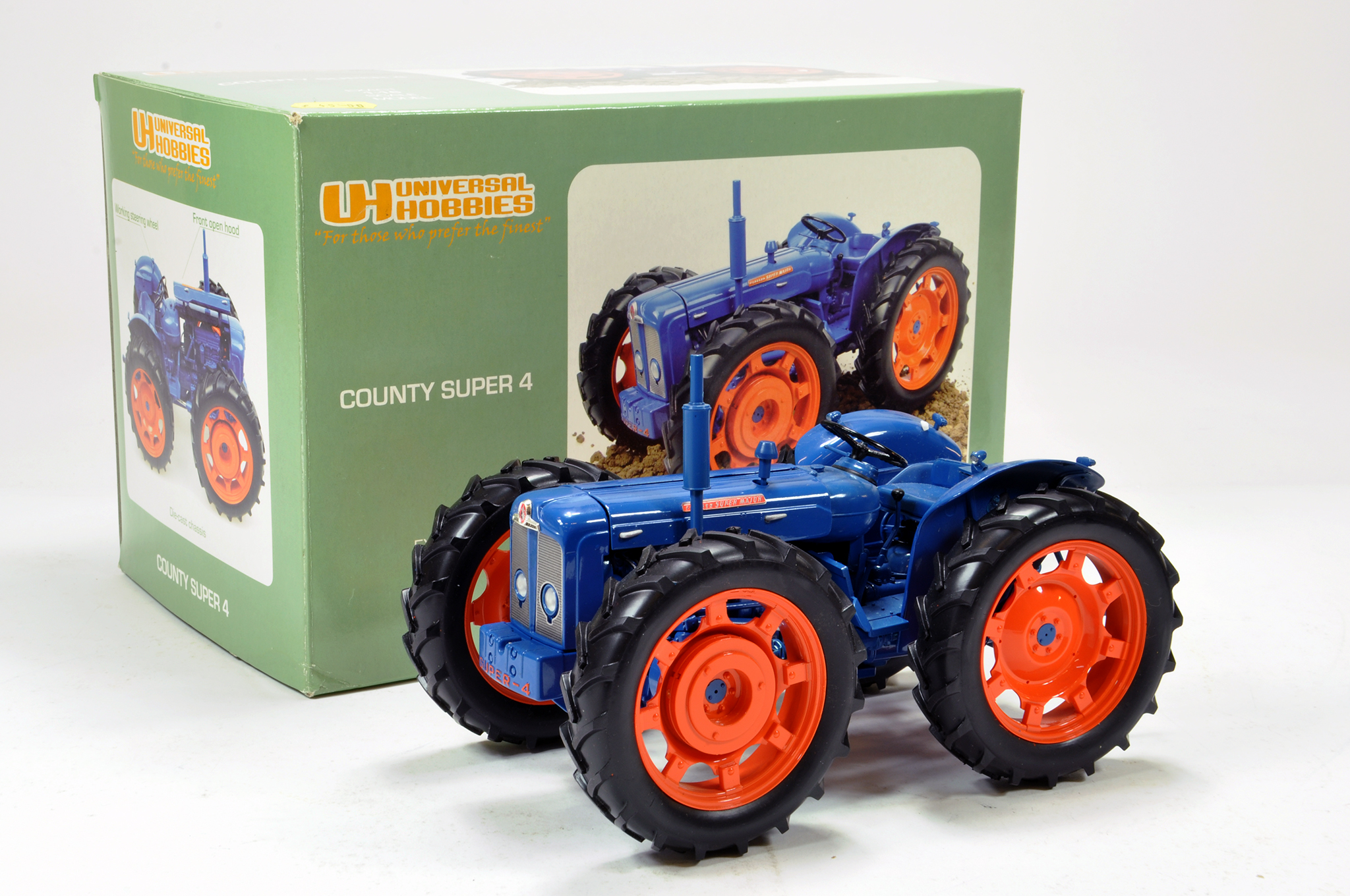 Lot 145 - Universal hobbies 1/16 County super 4 tractor. Generally excellent in box.