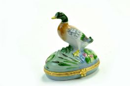 Limoges Vintage Peint Main Mallard Duck Sculptured Hinged China Trinket Box - 9.5cm - No faults.