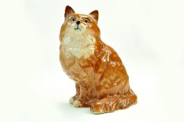 "Beswick Persian Cat Seated looking up Model No 1867 - 9 ½"" – 24cm - Ginger - Gloss - No Faults."