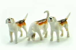 "Beswick First Version Foxhounds Model No 941 x 2 and 943 2 ¾"" – 7.0cm - White, Tan and Black – Gloss"