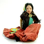 "Norah Wellings 19"" vintage Spanish Senorita Doll with Yellow Sombrero Hat Novelty Nightdress case."