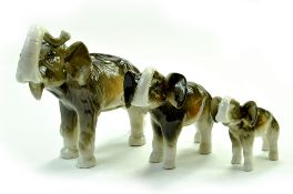 "Set of 3 Vintage Royal Dux Bohemia Porcelain Elephant Figurines, 6"", 4 ½"" and 3"" in Gloss. No"