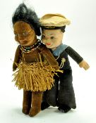 "Norah Wellings 7"" Cloth Sailor Doll 'SS Oransay' plus 8"" Island Girl - Grass skirt. Generally good"