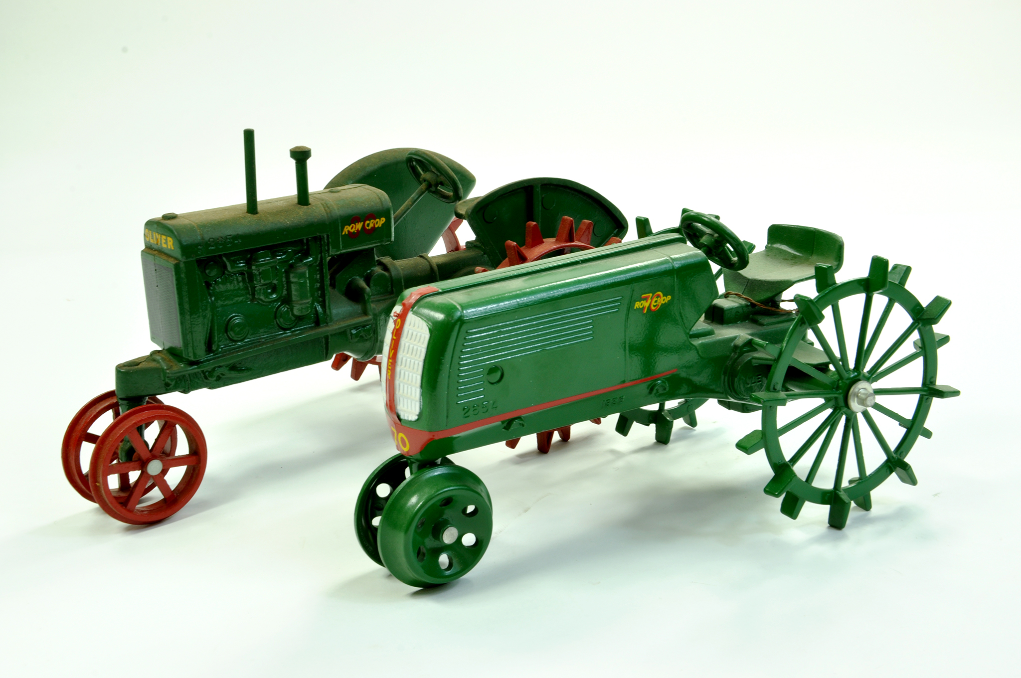 Lot 13 - Scale Models 1/16 diecast duo of Oliver Tractor issues on Row Crops. Generally excellent albeit