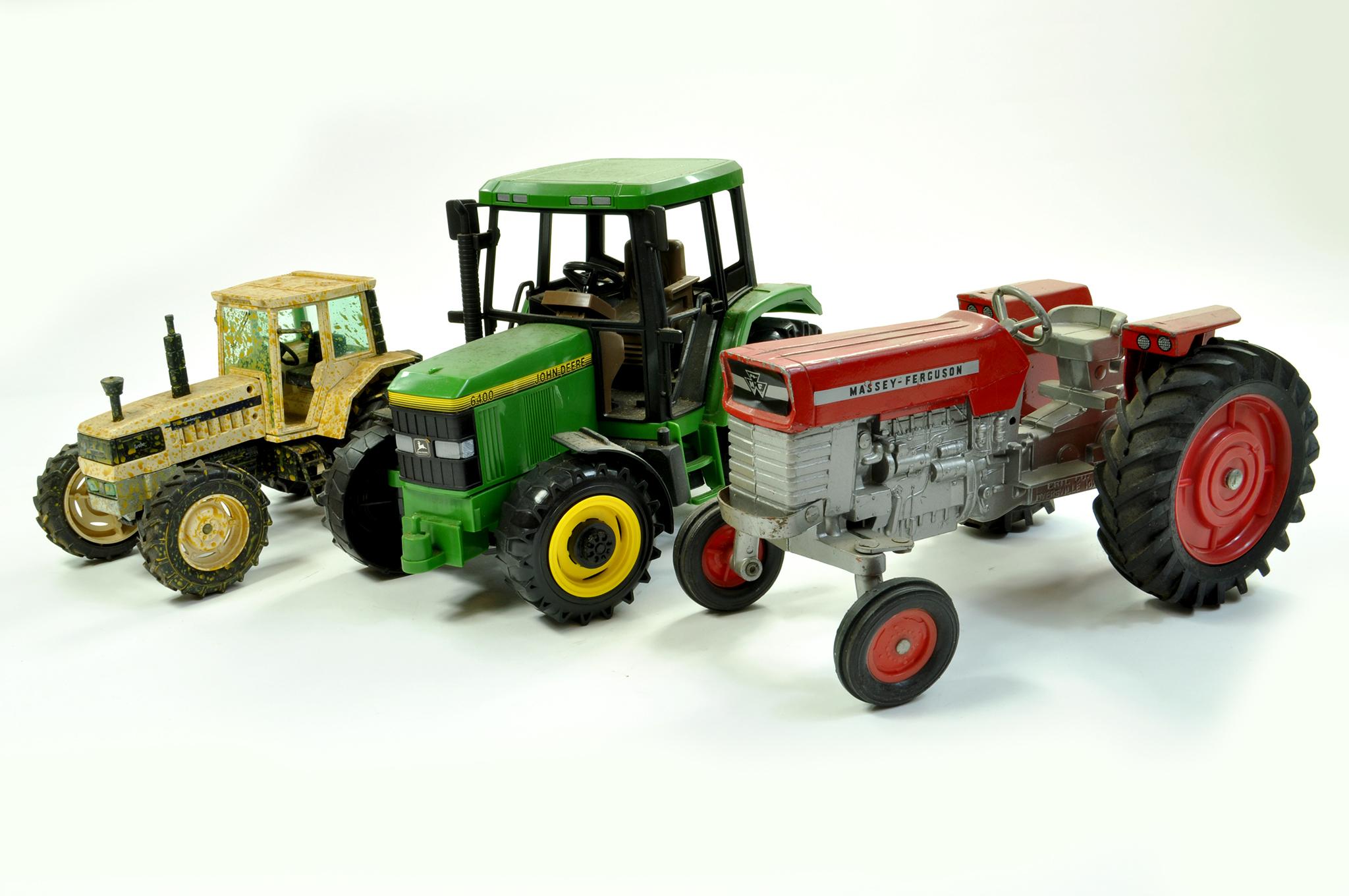 Lot 45 - Tractor Trio comprising Ertl Massey Ferguson Vintage issue plus Bruder John Deere 6400 and ROS