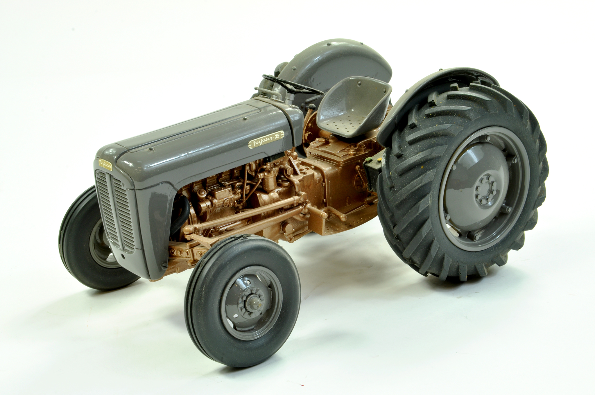 Lot 44 - Tractoys (France) 1/16 Resin and White Metal Farm Issue comprising Ferguson 35 TVO Tractor in Grey