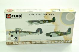 Airfix Plastic Model kit comprising Limited Edition 1/72 Seafire MKIIc, Swordfish plus Wildcat.