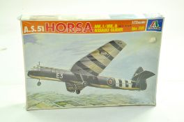 Italeri Plastic Model kit comprising 1/72 AS51 Horsa Glider. Complete. Ex Shop Stock. Enhanced