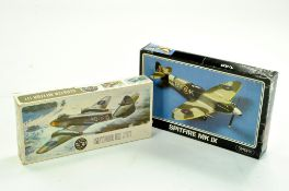 Airfix Plastic Model kit comprising 1/72 Meteor III plus Starfix 1/48 Spitfire. Both Sealed.