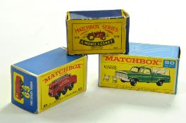 Trio of Matchbox Empty Boxes comprising No. 50, 63 and 4. Enhanced Condition Reports: We are more