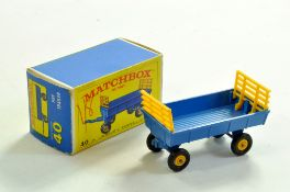 Matchbox Regular Wheels No. 40C Hay Trailer. Very Good to Excellent in Very Good to Excellent Box.