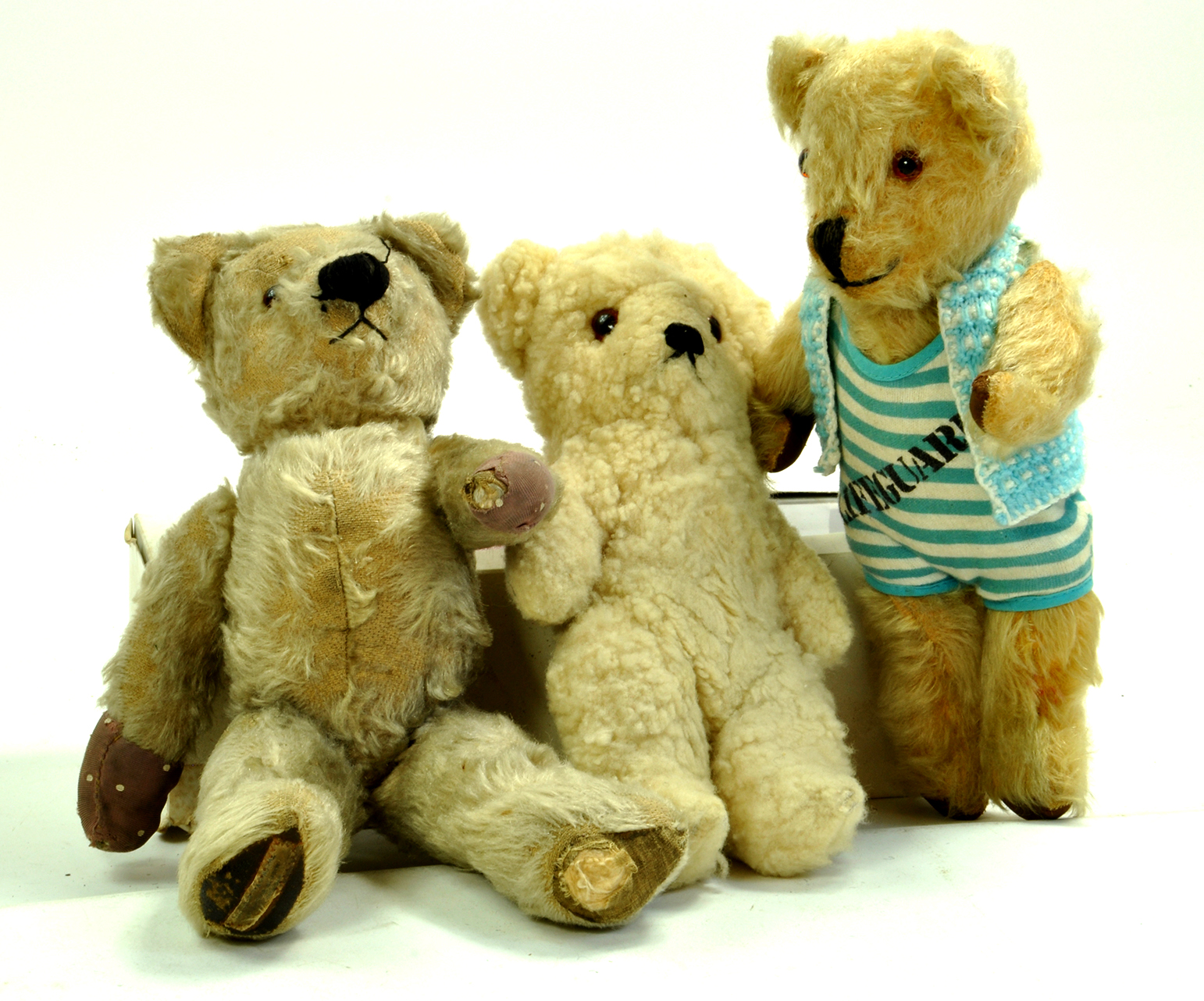 Trio of vintage bears, slightly smaller then previous lots. Includes an early Chad Valley example.