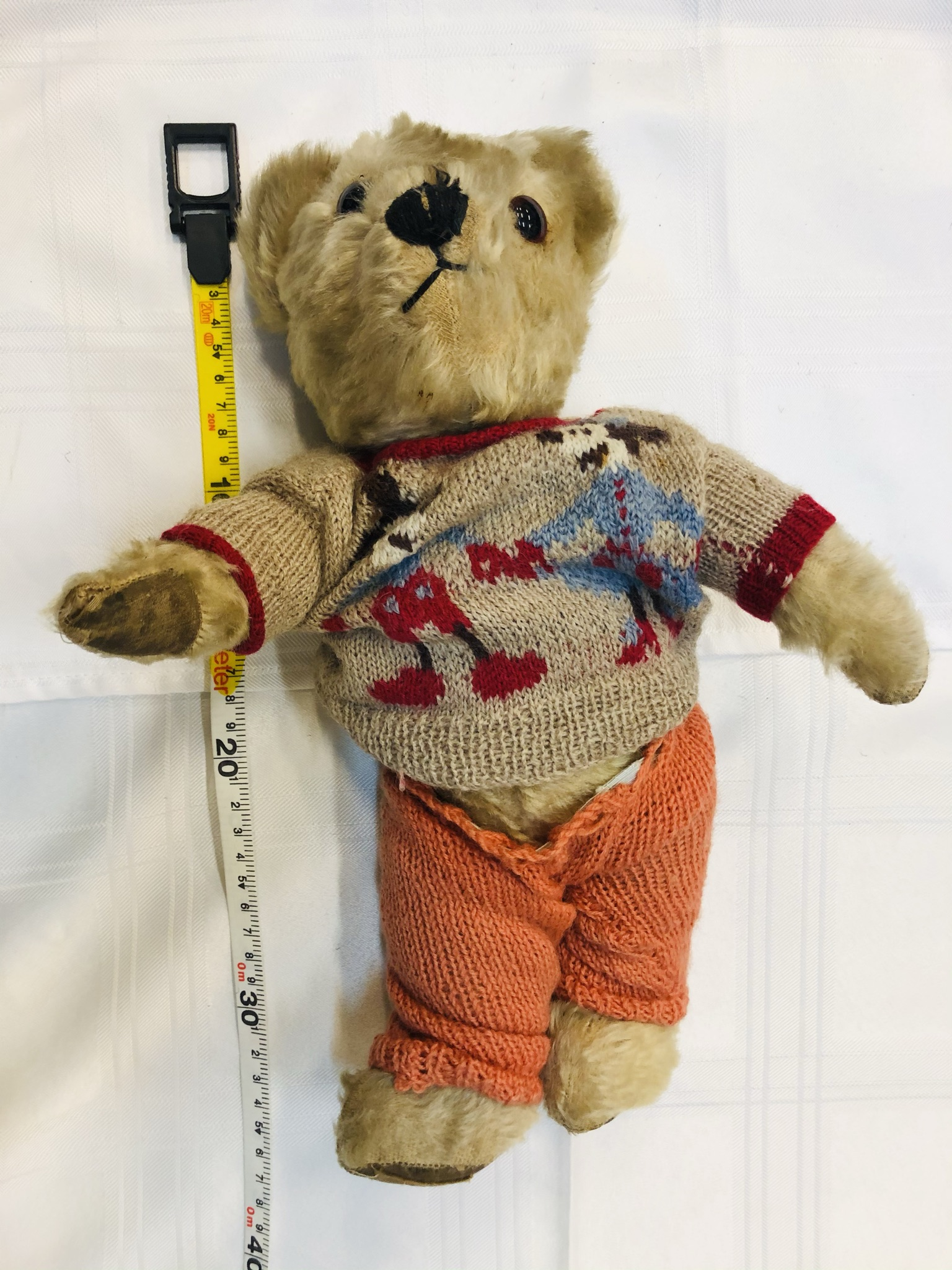 A splendid, Chad Valley Bear (with label) dressed in delightful hand made clothing. Handome chap. - Image 2 of 5