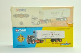 Corgi Diecast Commercial truck issues, classics duo comprising 21303 AEC Bell's Whisky plus Gibbs