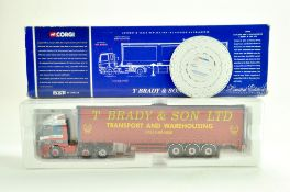 Corgi Diecast Truck issue comprising No. 75408 Leyland DAF Curtainside in the livery of T Brady.
